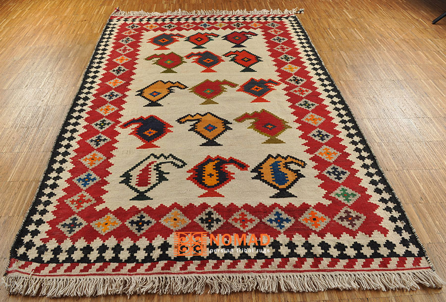 nomaden teppich kelim fars 190 x 120 cm kilim tribal rug ebay. Black Bedroom Furniture Sets. Home Design Ideas